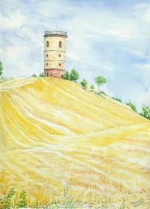 Plein Air Watercolor Painting of Giovanni's Tower in Italy