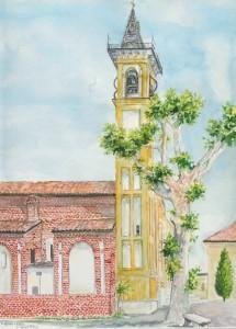 Italy Church plein air watercolor